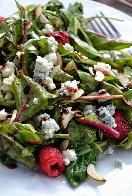 raspberry balsamic salad with toasted almonds and  crumbled gorgonzola with homemade raspberry balsamic vinaigrette...