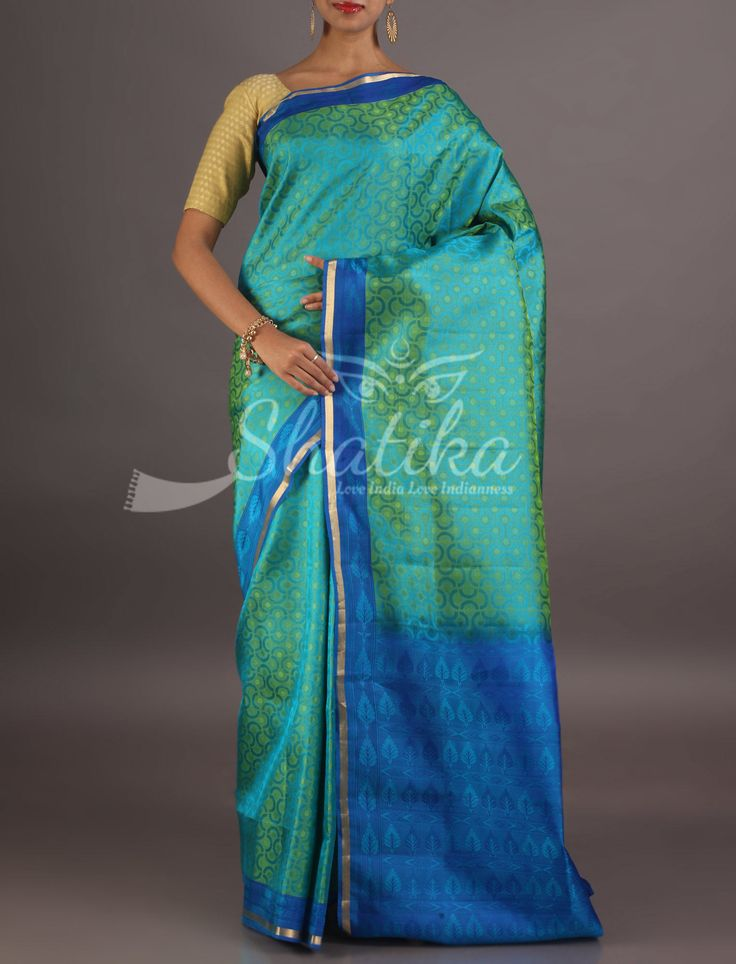Sabeena Self-Weave Blue And Blue Lace Border Pure Silk Saree From Coimbatore