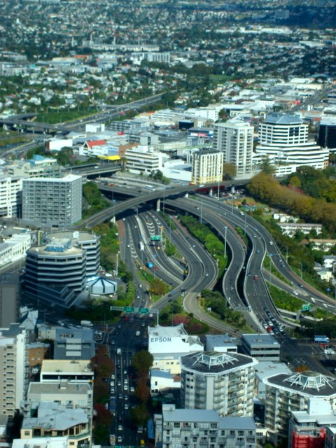 The other side's view from the Sky Tower. Auckland, New Zealand. 2009.   Travel Photography