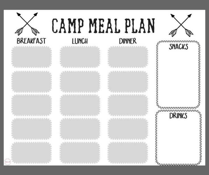 Free printables! Camping meal plan and camping food list / menu plan for packing and prepping camp food ideas!