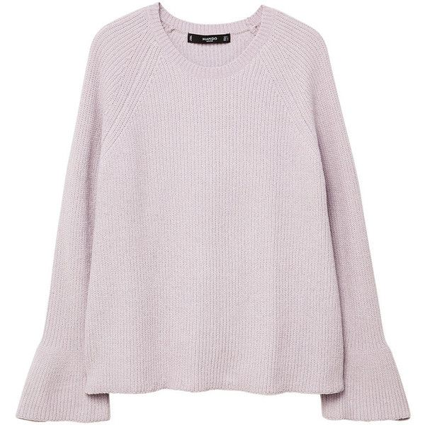 Flared Sleeves Sweater (£30) ❤ liked on Polyvore featuring tops, sweaters, pink cable knit sweater, cable knit sweater, round top, bell sleeve knit sweater and long pink sweater