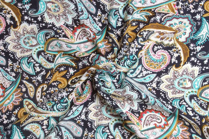 chiffon  1m CH84  disegno floreale paisley di Stoff-Borte su DaWanda.com
