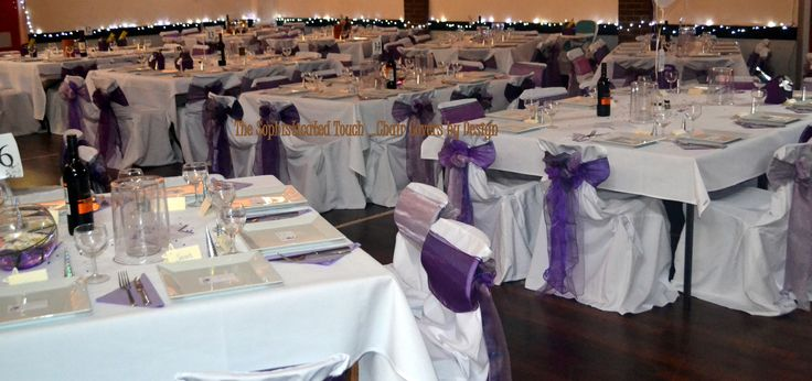 Triple Organza Purple Bows on White Chair Covers  The Sophisticated Touch ...Chair Covers by Design