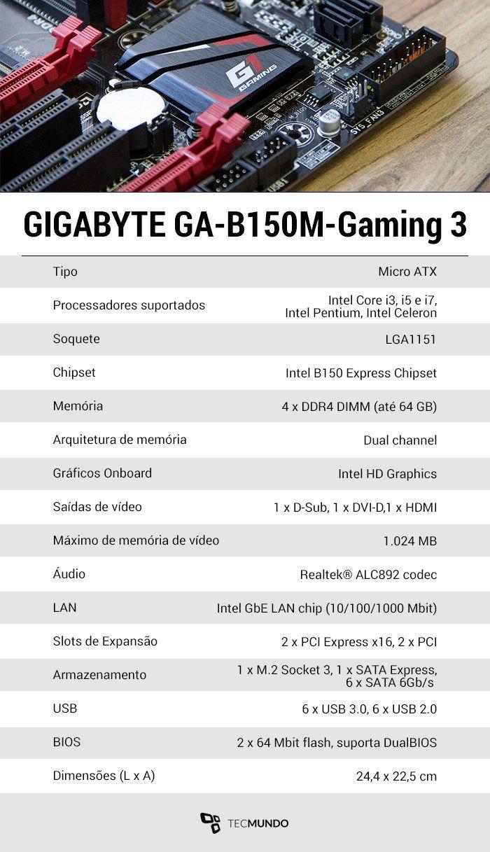 Review: placa-mãe GIGABYTE B150M Gaming 3 DDR4 - https://anoticiadodia.com/review-placa-mae-gigabyte-b150m-gaming-3-ddr4/