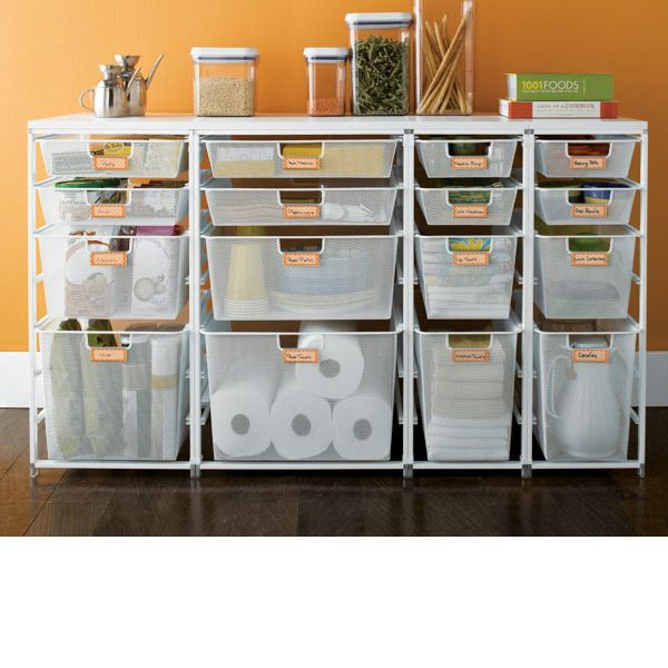 Garage Storage For Overflow Products The Container Store U003e Cabinet Sized  Elfa Mesh Pantry Drawers