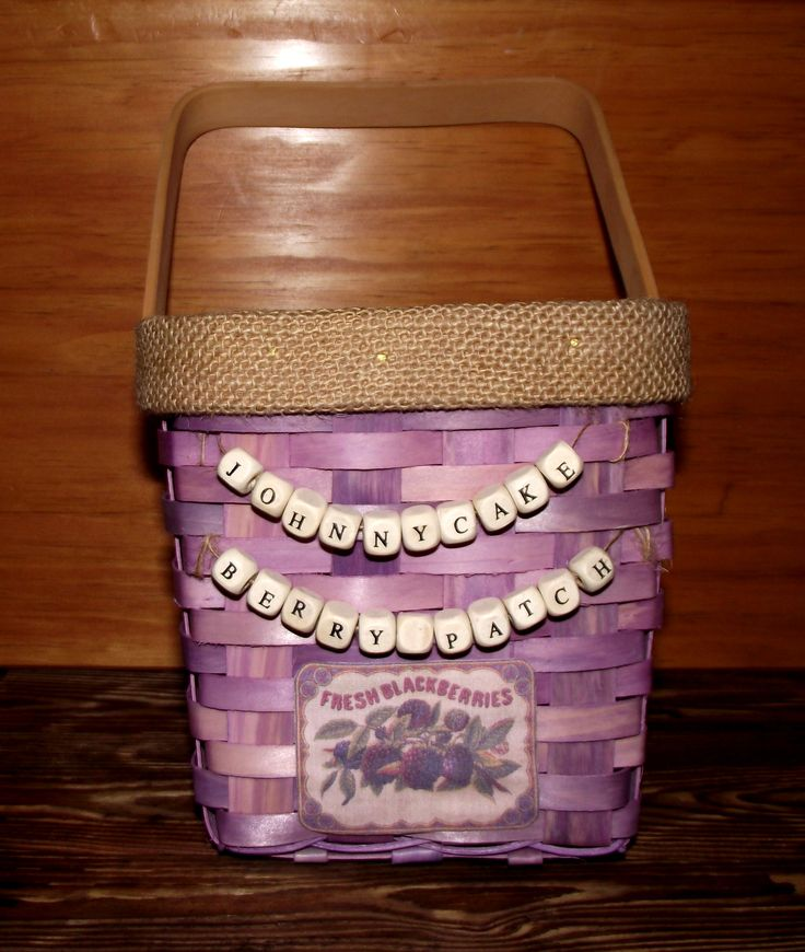 Personalized berry basket with small wood beads, burlap trim, and a FRESH BLACKBERRIES label printed on fabric.  I added a clear plastic liner inside, and it's ready for gathering wild blackberries from our Johnnycake Berry Patch.