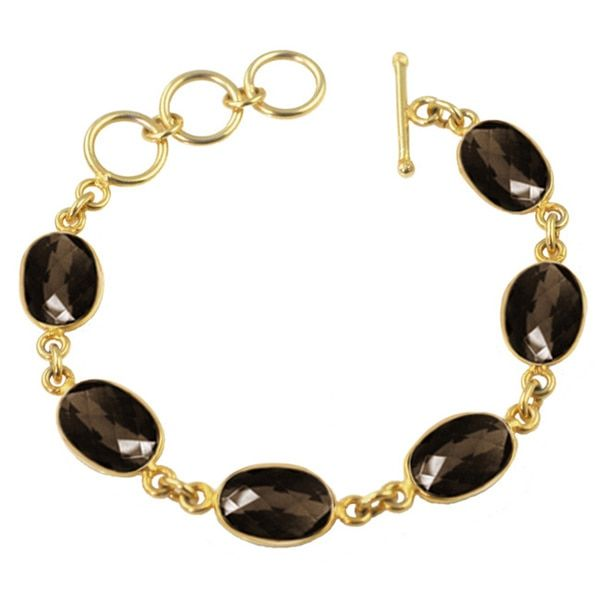 overstock jewelry | Alchemy Jewelry Brown Oval Quartz Gemstone Bracelet - Free Shipping On ...