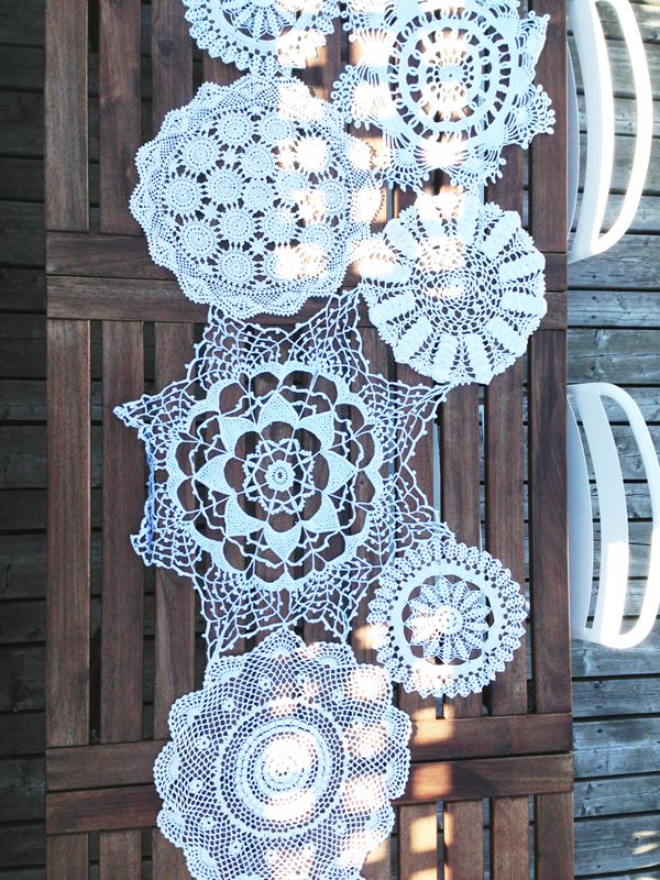 lace doily table runner