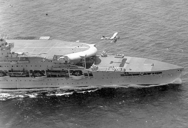 British aircraft carrier HMS Glorious. A swordfish aircraft fighter-bomber launches from the flight deck! #5C