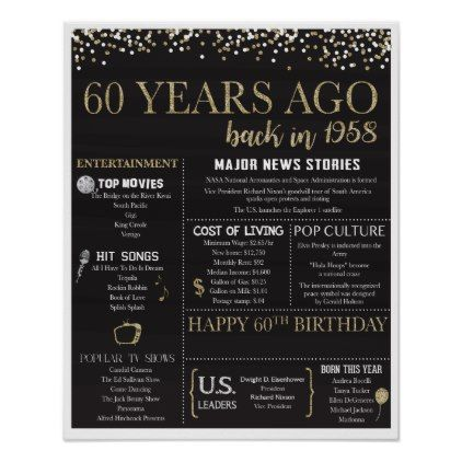 60th Birthday Poster - 1958 Poster - birthday gifts party celebration custom gift ideas diy