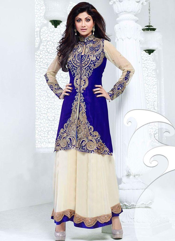 Buy Bollywood Shilpa Shetty Blue & Cream Ankle Length Anarkali Suit US$ 99.01 . Shop at - bollywood-ankle-length-anarkali.blogspot.co.uk/2014/04/buy-bollywood-shilpa-shetty-blue-cream.html