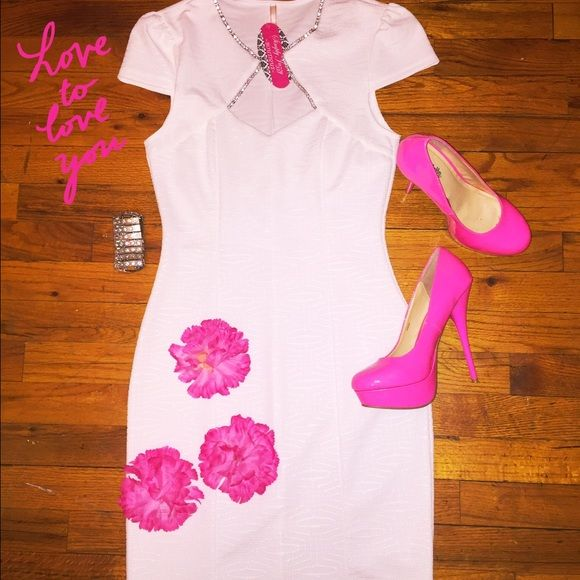 🎉 Special Sale🎉.  Love to Love you Dress White tight fitting dress with rhinestones on the check neckline. Dresses Midi