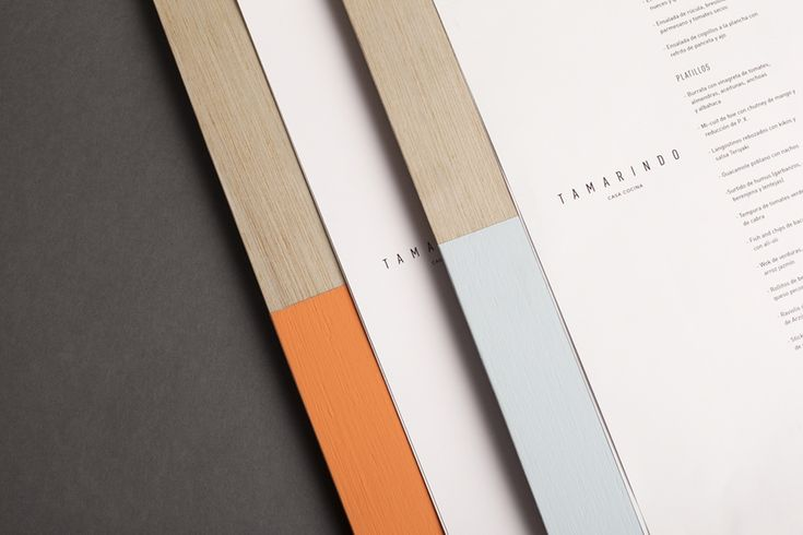 Painted wood menu designed by La Tortillería for Spanish kitchen and bar Tamarindo