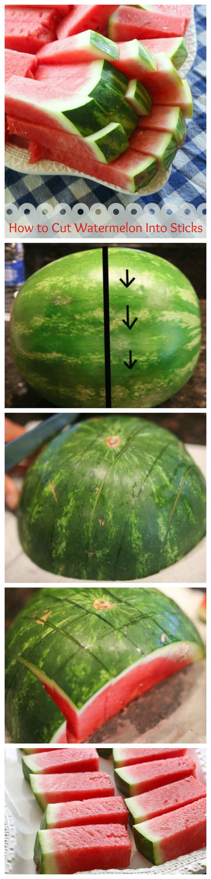 How to Cut a Watermelon into Sticks ~ Cutting it this way makes it easy for little ones to manage and great for potlucks.