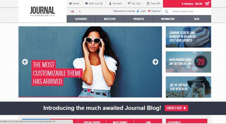 Opencart Journal templét, ami egy full adminisztrációs felülettel rendelkezik az Opencart áruházon belül, igazi profi kialakítás