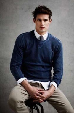 Dress Shirt And Tie Under A Crewneck For Him Pinterest Mens