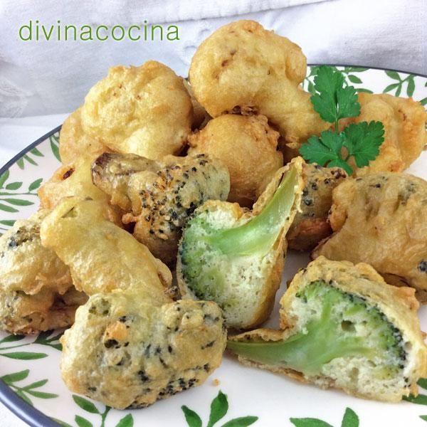 Con esta misma receta de buñuelos de brócoli se pueden preparar otras verduras: arbolitos de coliflor, rodajas gruesas de berenjena y calabacín crudas (1/2 cm. de grosor), cuartos de alcachofas cocidos, aros de cebolla más bien gruesos, tiras o aros de pimientos de los de asar...