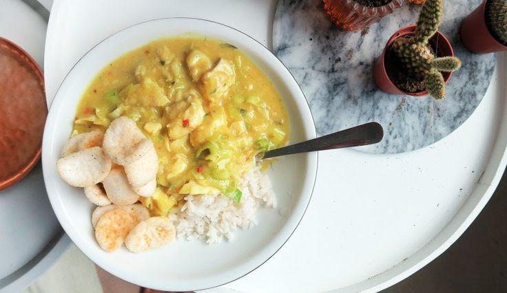 Rijst met prei en kabeljauw-kerriesaus