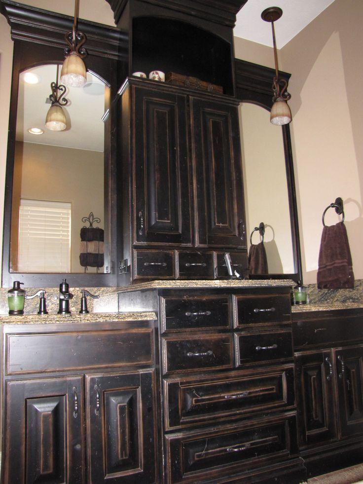 Cabinets black painted master vanity master bathroom - Painting bathroom cabinets black ...