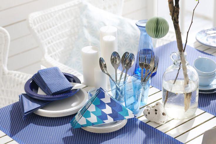 Servietten und Tischläufer- verschiedene Designs, verschiedene Farben. #Motive #Farben #Servietten #Punkte #Streifen #Fischgräte #Dekoration #Hertie #Duni