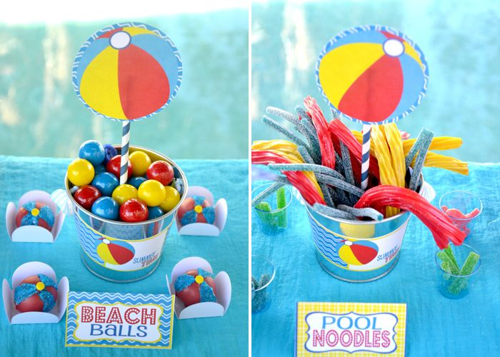 beach party food ideas: use gobstoppers for beach balls and twizzlers (licorice sticks for us Australians!) for pool noodles