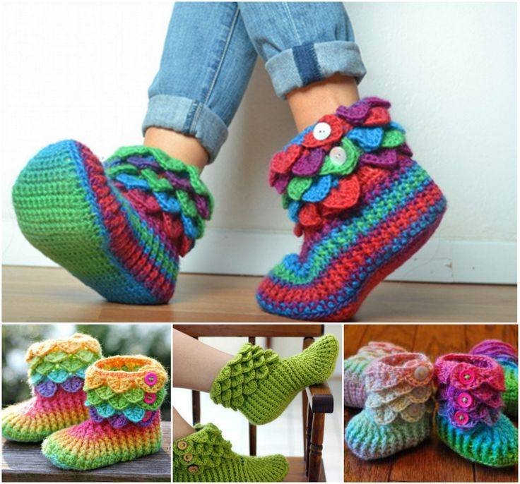Crocodile Stitch Slippers and Booties--free patterns