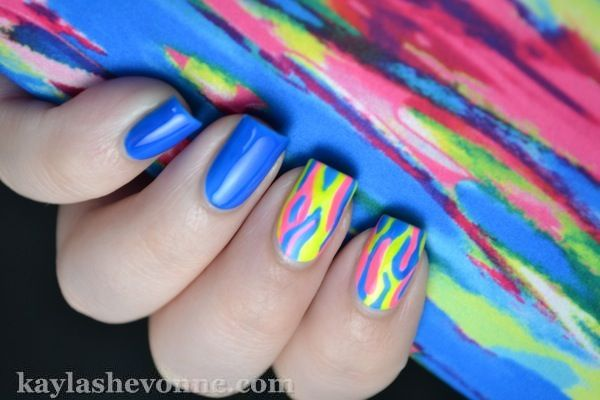 Nails by Kayla Shevonne: Neon Brush Stroke Nail Art: Neon Brushes, Nails Art, Polish Brushes, Color, Brushes Strokes, Canvas, Lose Weights, Neon Blue Nails, Neon Nails