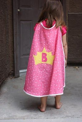 Adorable super hero cape! You don't even have to wait for Halloween, this would be great for dress-up!