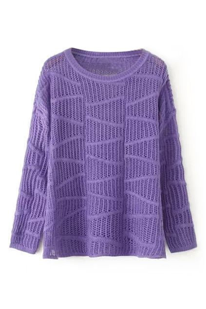abaday Transparent Long Sleeved Purple Jumper - Fashion Clothing, Latest Street Fashion At Abaday.com