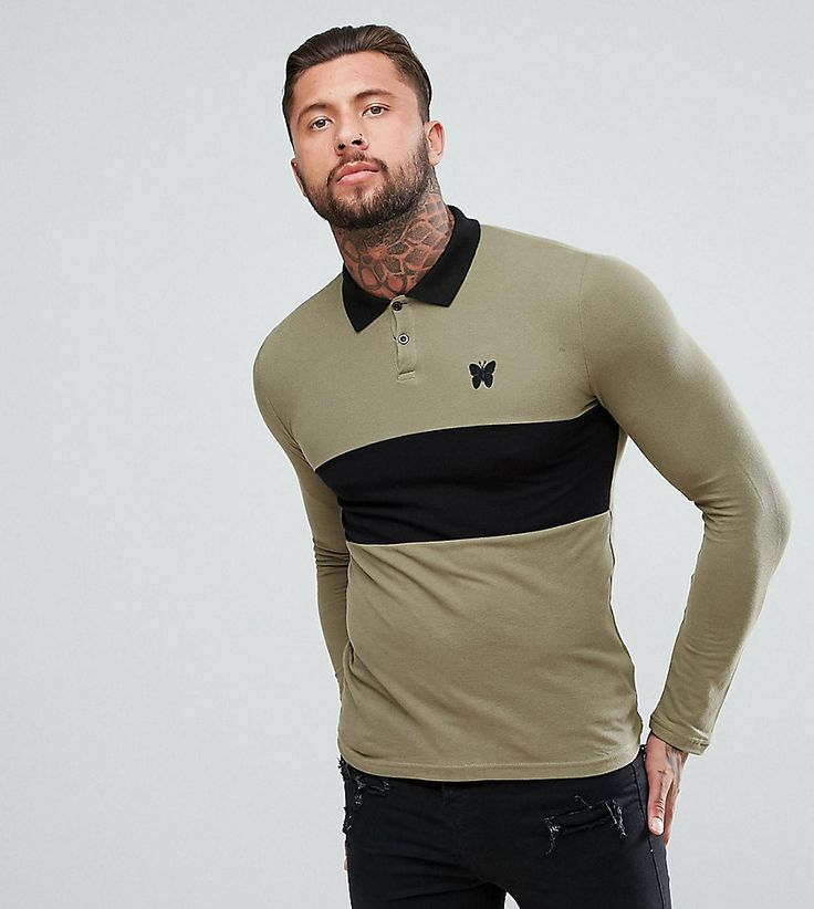 Good For Nothing Muscle Rugby Shirt In Khaki - Green