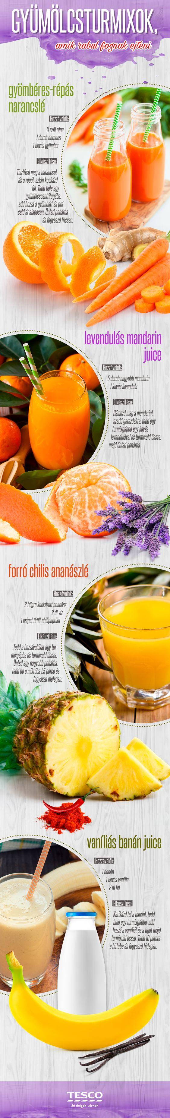 Indítsd egy turmixszal a napot és nem is akármilyennel! :) Hoztunk négy olyan receptet Neked, amiket biztos, hogy még nem próbáltál! :) #tesco #tescomagyarorszag #turmix #vitamin #recept #finom #reggeli #banan #narancs #mandarin #ananasz