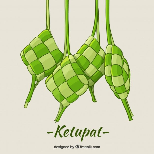 Hand Drawn Traditional Ketupat Compositi Free Vector Freepik Freevector Food Islamic Hand Green How To Draw Hands Vector Free Art Poster Design