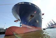 139_6260| Wulstbug der CMA CGM CALLISTO im Hamburger Hafen am HHLA Terminal Burchardkai - ein kleines Fahrgastschiff der Hafenrundfahrt fährt mit Hamburg Touristen dicht an der Schiffswand entlang. Das 2010 fertiggestellte Containerschiff CMA CGM CALISTO hat eine Länge von 364m und eine Breite von 45,6m. Der Containerriese kann 11 356 TEU Standartdcontainer transportieren.