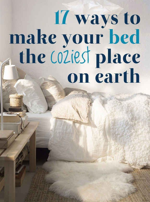 17 Ways To Make Your Bed The Coziest Place On Earth - cool takeaways from this artical! dorm ideas DIY dorm ideas #diy