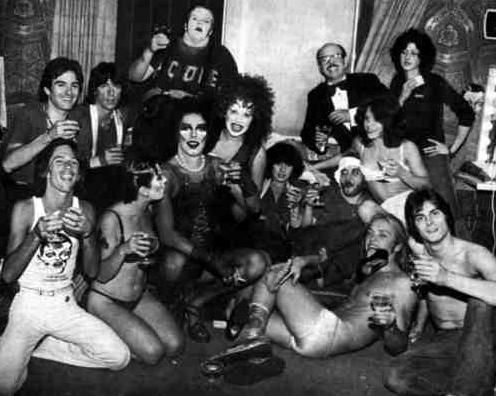 Shot of most of the Roxy Cast in 1974 in LA.  CAST:  Frank N. Furter: Tim CurryUsherette/Magenta: Jamie Donnelly Narrator: Graham Jarvis Janet Weiss: Abigale Haness Brad Majors: B. (Bill) Miller Riff-Raff: Bruce Scott Columbia: Boni Enten Rocky Horror: Kim Milford Eddie/Dr. Scott: Meat Loaf