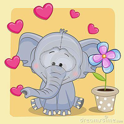 Elefante com coração e flor