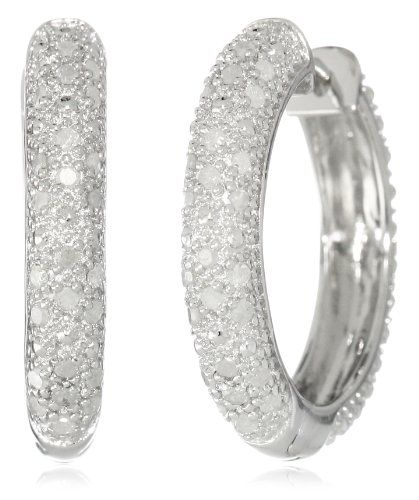 Sterling Silver Diamond Hoop Earrings (1/2 cttw, H-I Color, I2-I3 Clarity) -