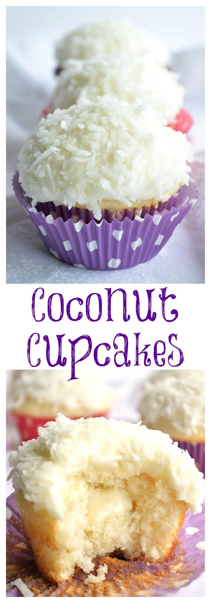 Coconut Cupcakes. A moist white coconut cake with a creamy coconut filling and coconut frosting on top! A perfect Holiday treat or Christmas party addition!