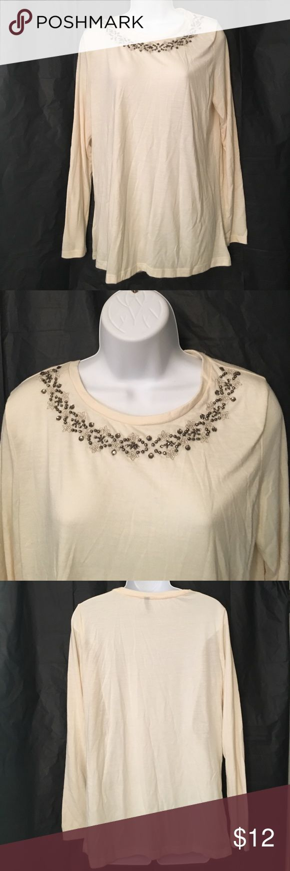 Falls Creek Beautiful Large Beaded Top Falls Creek size large cream color long sleeve top with Beaded design ... very soft light and comfy .....BUNDLE 4 or more & SAVE 30%!!!....FREE GIFT..Choose your free gift by either commenting on the gift or commenting on one of the items you purchased indicating which # gift you would like!! $$20 purchase or More ONLY!!! Falls Creek Tops Tees - Long Sleeve