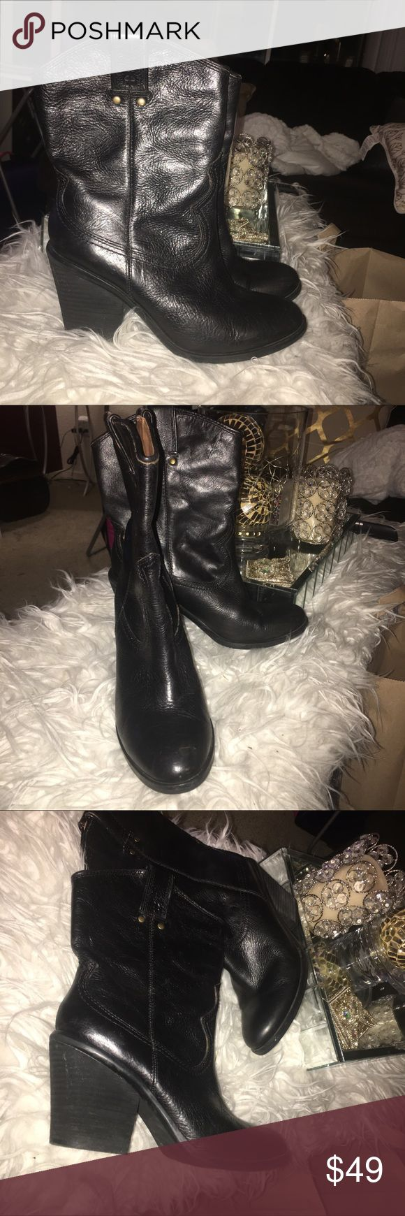 """LUCKY BRAND Elle Cowboy BOOTS Black Leather Lucky Brand """"Elle"""" genuine leather black western short boots  Size 8M/38  Heel height 3"""" Pre-owned condition Lucky Brand Shoes Ankle Boots & Booties"""