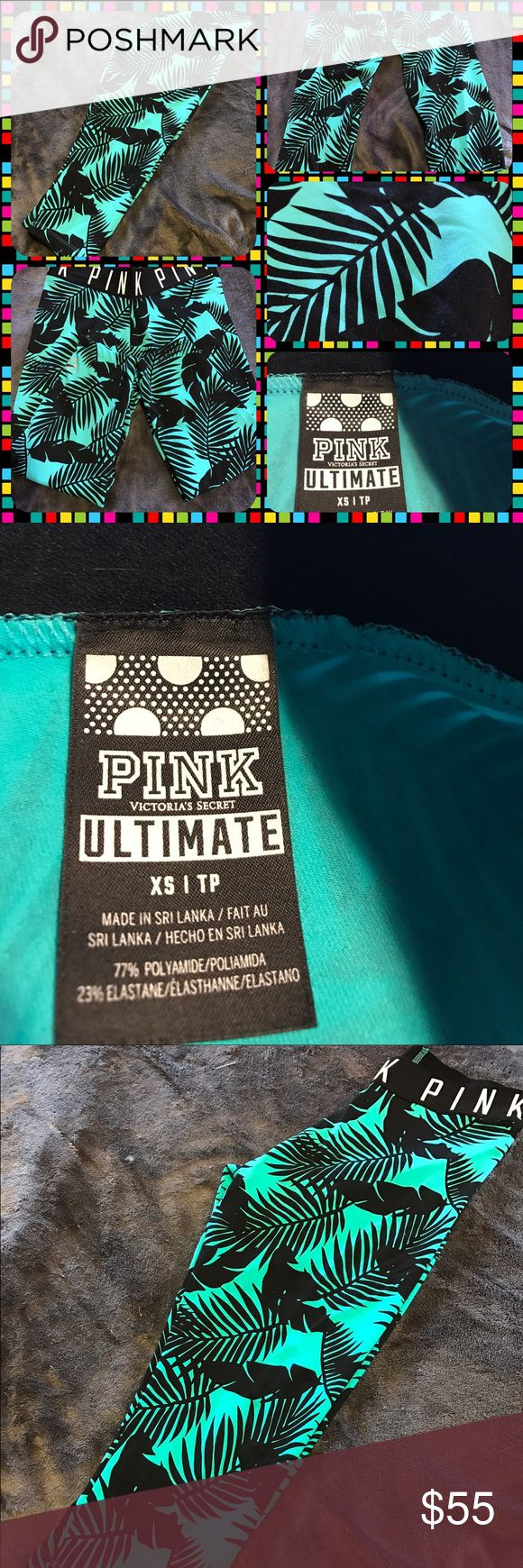 Like New PinkVictoria'sSecret Ultimate Capri Pants Like new Pink Victoria's Secret Ultimate Capri pants.  Turquoise pants with black palm leaf design.  Size Extra small.  PINK is in white letters around the waistband.  No trades.  Will price drop. PINK Victoria's Secret Pants Capris