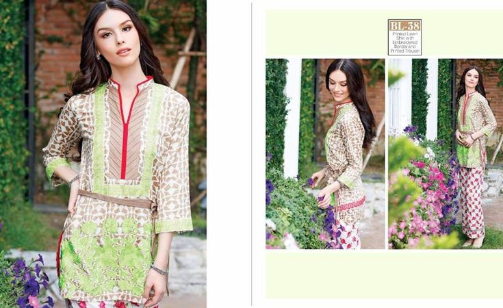 #Womens #Fashion #Pakistani #Designer #Suits #Haute #Couture for #work - #Green #Shirt #White #Bottom #Embroidered #premium #lawn #Kurtis