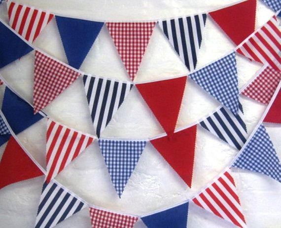 Super long,  affordable quality nautical bunting banners in vibrant blue white red stripes gingham & plain flags 10 meters