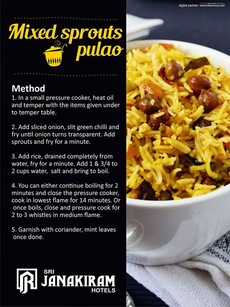Mixed sprouts pulao- Recipe