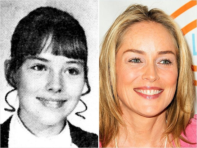 Sharon StoneBefore her basic (style) instinct kicked in, a brunette Sharon Stone looked prim and proper with straight-cut bangs in her 8th grade photo -- but those tightly wound tendrils had to go! Thankfully, the actress' hair has since undergone a major overhaul. Now the blonde babe stays forever young alongside her 27-year-old boy toy, Argentinian model, Martin Mica.