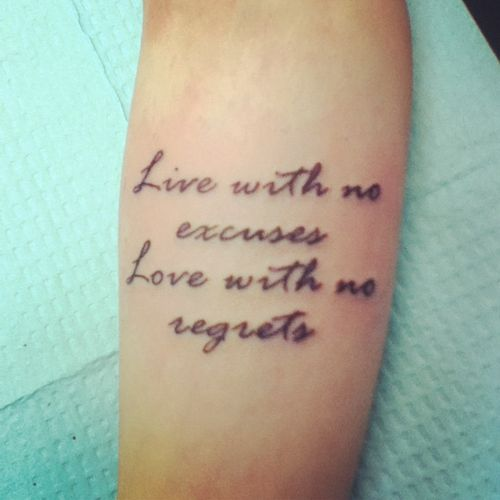 No Regrets Tattoo Quotes Live With No Regrets Tattoo: 17 Best Images About Yess!! On Pinterest