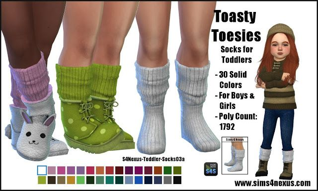Sims 4 CC's - The Best: Toasty Toesies - Socks for Toddlers - by sims4nexu...