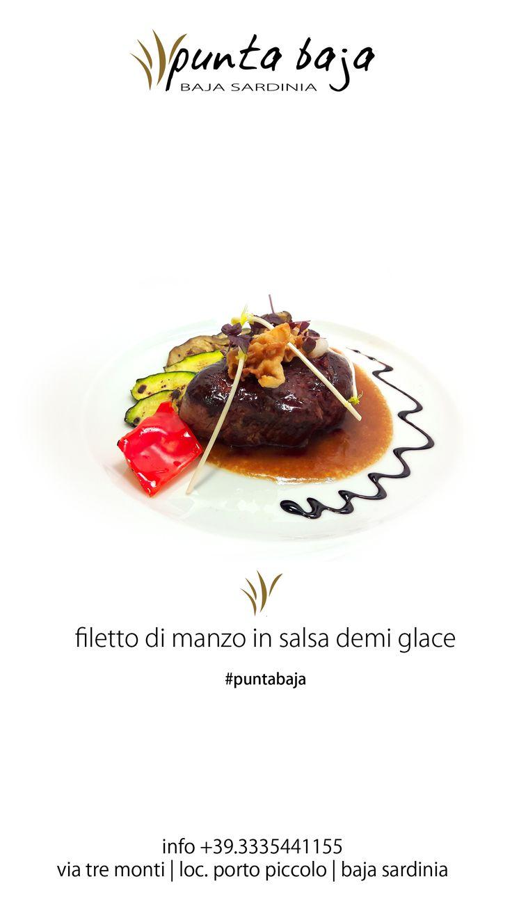 Filetto di manzo in salsa demi-glace con scottature di lardo di Colonnata e verdure grigliate // Beef fillet served with demi-glace sauce, Colonnata lard , E.V.O. oil and grilled vegetables