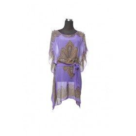 Silk Kaftan Top - Purple