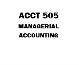 ACCT 505 Managerial Accounting ACCT 505 Week 1 Case Study I, Top Switch Inc Homework Assignment P2-22, P3-22, E2-12, E2-4  Discussion 1: Cost Terms, Classifications and Behavior Discussion 2: Research and Application  ACCT 505 Week 2 Discussion 1: Job Order and process and process Costing Systems  Discussion 2: Research and Application Quiz (Two Sets) ACCT 505 Week 3 Case Study 2 Springfield Express (03 Papers) Chapter 3, Systems Design - Job-Order Costing Discussion 1: Variable Costin